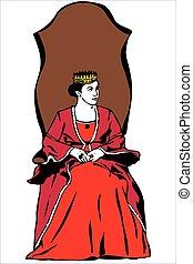 chodząc, królowa, korona