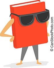chodząc, książka, sunglasses, czerwony, chłodny