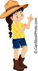 chodząc, mały, kapelusz, dziewczyna, czyścibut