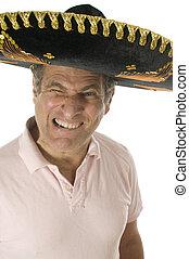 chodząc, meksykanin, turysta, wiek, środek, starszy samczyk, kapelusz, somebrero