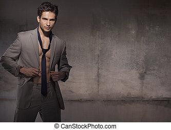 chodząc, modny, wzór, muskularny, garnitur