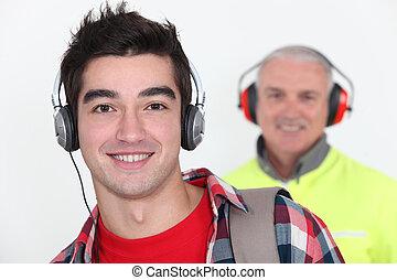 chodząc, obrońcy, słuchawki, pracownik, student, przód, ucho