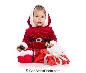 chodząc, odizolowany, garnitur, tło., święty, niemowlę, białe boże narodzenie, czerwony, szczęśliwy