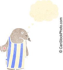 chodząc, polarny, fartuch, niedźwiedź, retro, rysunek