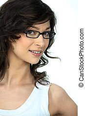 chodząc, portret, kobieta, okulary