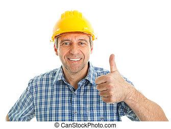 chodząc, pracownik, twardy kapelusz