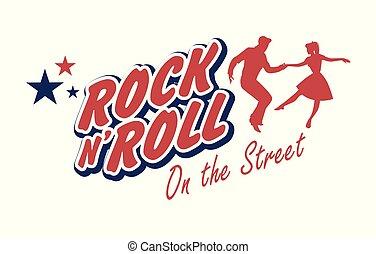 chodząc, roll., dobry, illustration., taniec, 50, para,...