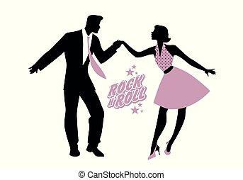 chodząc, roll., taniec, 50, para, młody, ilustracja, wektor,...