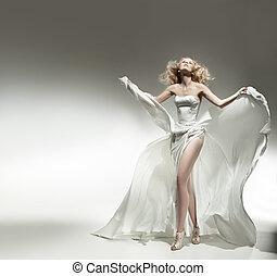 chodząc, romantyk, piękno, blondynka, strój, biały