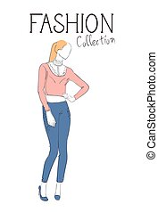 chodząc, rys, fason, zbiór, samica, modny, wzór, odzież, odzież