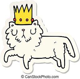 chodząc, rzeźnik, korona, rysunek, kot