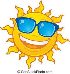 chodząc, słońce, sunglasses