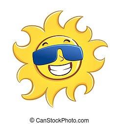 chodząc, słońce, szczęśliwy, okulary
