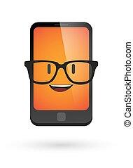chodząc, sprytny, avatar, telefon, okulary
