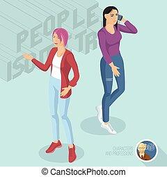 chodząc, styl, dwa, jeans., damski, przypadkowy