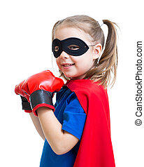 chodząc, superhero, boks rękawiczki, dziecko