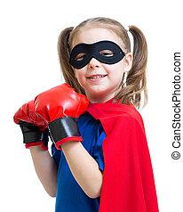 chodząc, superhero, boks rękawiczki, koźlę