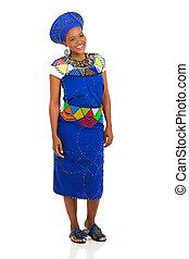 chodząc, tradycyjny, kobieta, odzież, afrykanin