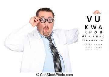 chodząc, zabawny, bifocals, okulista