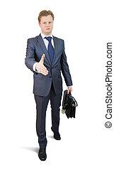 chodzenie, biznesmen, uzgodnienie, propozycja
