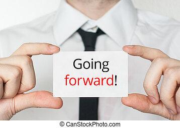 chodzenie, forward., biznesmen, dzierżawa, handlowa karta