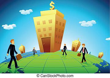 chodzenie, handlowy, bank, człowiek