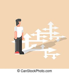 Choice. A businessman looks at many arrows and selects the path. Business vector illustration. - Vector