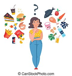 Choice between healthy and unhealthy food