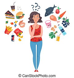 Choice between healthy and unhealthy food.