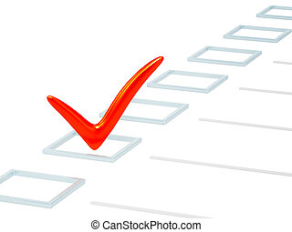 Choice - Checkbox with red point. Isolated over white