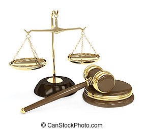 Choice - Gold scales and auction hammer. Objects over white