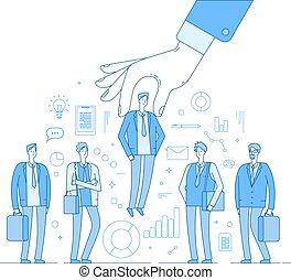 Choice employer. Hand choosing man from selected people group. Human recruitment hunting, selecting choicing candidate vector concept
