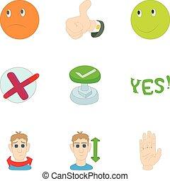 Choice icons set, cartoon style