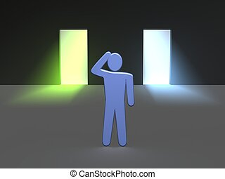 Man thinking which entrance to choose. 3d rendered illustration.