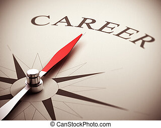 One compass needle pointing the word career, image suitable for career opportunities management. 3D render illustration.
