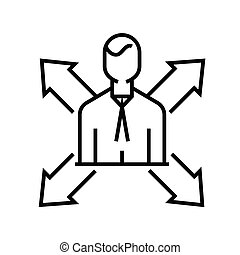 Choice of direction line icon, concept sign, outline vector illustration, linear symbol.