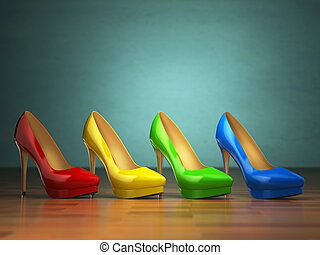 Choice of high heels shoes in different colors on vintage...