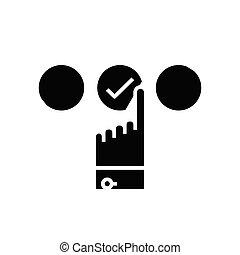 Choice of option black icon, concept illustration, vector flat symbol, glyph sign.