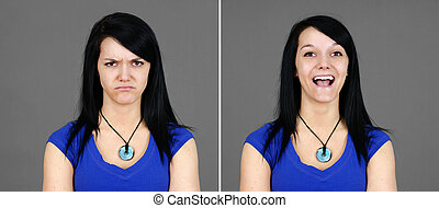 Choice of super happy and mad young woman portraits