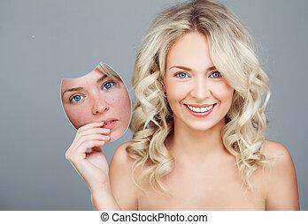 choice., procedure., skincare, młody, przed, skóra, po, maska, kobieta uśmiechnięta, piękno, pojęcie