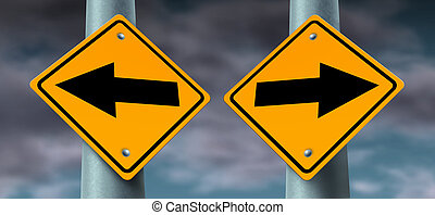 Choice Road Signs - Choice and decisions road signs as...