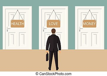 Choice way concept. Businessman stading in front of three closed doors. Decide direction. Business decision. Vector illustration in flat style