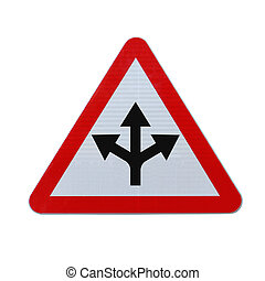Conceptual road sign on choices or making decisions (on white with clipping path)