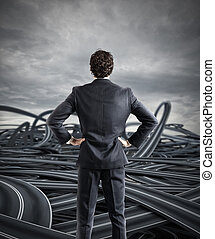 Choices of a businessman and difficult career concept -...