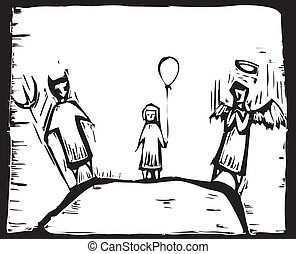 Small child with a balloon must decide between angel and devil.