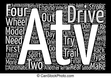 choices to make for your first atv text background word cloud concept