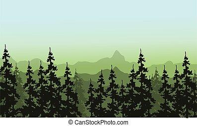 choinkowe drzewo, sylwetka, krajobraz