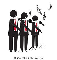 choir - three black silhouettes of a choir with microphone...