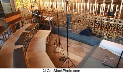 Choir loft and church chandelier in Christ the Savior...