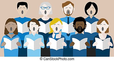 choir singers - diverse group of adults singing in a...